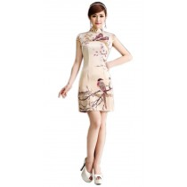 Retro Oriental Chinese Cheongsam Dress Gold Magpie M