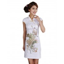 Fashion Chinese Qipao Dress White Sequin Phoenix Dress M