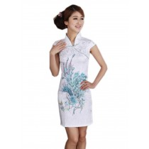 Traditional Chinese Dress Blue Sequin Phoenix Cheongsam M