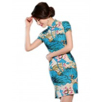 Elegant Chinese Qipao Dress Blue Lotus Cheongsam M