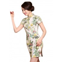 Elegant Chinese Qipao Dress Green Patterned Cheongsam M