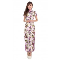 Stylish Purple Floral Print Long Qipao Dress , M