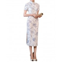 1900's Chinese Retro White Qipao Dress, M