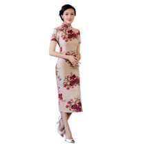 1900's Chinese Retro Red Blossoms Qipao Dress, M