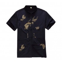 [NAVY Dragon]Fashion Men Chinese Short Sleeve Tang Shirt Kung Fu Cloth,180cm