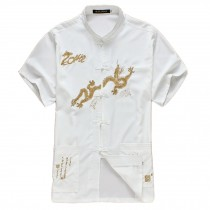 [WHITE Dragon]Fashion Men Chinese Short Sleeve Tang Shirt Kung Fu Cloth,180cm