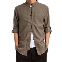 [BROWN] Fashion Men Flax Chinese Short Sleeve KungFu Cloth Men Shirt,XXL