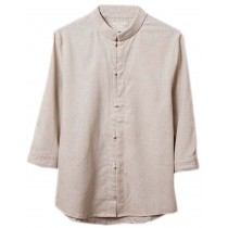 [BEIGE] Fashion Men Flax Chinese Short Sleeve KungFu Cloth Men Shirt,XXL