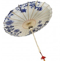 [Blue&White Porcelain] Handmade Chinese oil paper umbrella 33 inches in Diameter