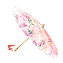 [Pink Peach Blossom] Rainproof Handmade Chinese Oil Paper Umbrella 33 inches