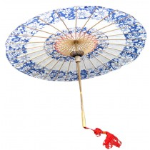 [Classic Blue and White] Rainproof Handmade Chinese Oil Paper Umbrella 33 inches