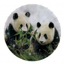 [Love in The Snow] Rainproof Handmade Chinese Panda Oil Paper Umbrella 33 inches