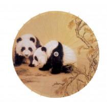 [Love Each Other] Rainproof Handmade Chinese Panda Oil Paper Umbrella 33 inches