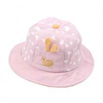 Boys Girls Summer Sun Protection Hat Toddler Snails Embroidery Cap, Pink