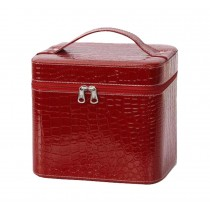 Classic Leather Makeup Case Waterproof Durable Cosmetic Bag Locker,Red