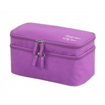 Classic Fashionable Makeup Case Cosmetics Storage Box Bag Double, Purple