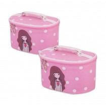 Set of 2 Lovely Elegant Makeup Bag Travel Bags Cosmetics Storage Bags, Pink