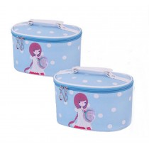 Set of 2 Elegant Girl Style Makeup Bag Portable Cosmetics Storage Bags, Blue