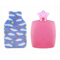 Special Price - Lovely Elegant Hot Water Bottle With Flannel Cover,750 ML Blue