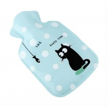 Mini Lovely Children's Hot Water Bottle/Hand Warmer, Cartoon Cat Blue, S 100 ML