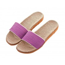 Washable Indoor soft bottom antiskid flax female Non-slip slippers
