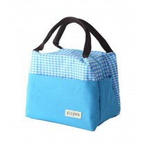 High-quality Water-proof Oxford Cloth Square Lunch Bag, Blue Grid