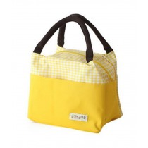 Large Capacity Waterproof Oxford Cloth Lunch Bag/Female Bag, Yellow Grid