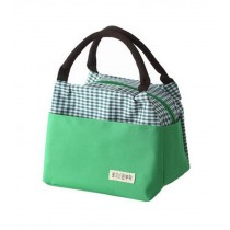 Multifunctional Waterproof Oxford Cloth Female Square Lunch Bag, Green Grid