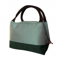 Large Capacity Insulation Waterproof Oxford Cloth Lunch Bag, Green Stripe