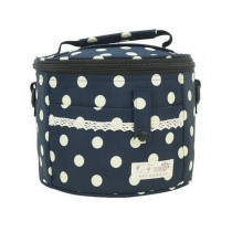Lovely Exquisite Beauty Oxford Cloth Lunch Bag, Blue Background Beige Point