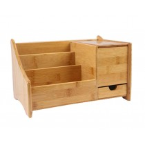 Practical Durable Bamboo Desktop Storage Box Handmade,Natural Color,30*19CM