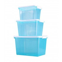 Set of 3 All-purpose Household Storage Boxes/ Storage Bins,Transparent Blue
