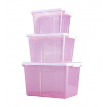 Set of 3 Good Storage Boxes Household Storage Bins,Transparent Purple