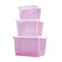 Set of 3 Good Storage Boxes Household Storage Bins,Transparent Purple