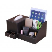 Student Desktop Storage Box/ Multifunctional Handmade Tissue Box, Coffee