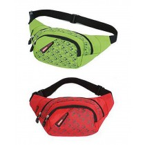 Set of 2 High-grade Bright Color Sports&Outdoor Pockets Waist Packs (Green/Red)