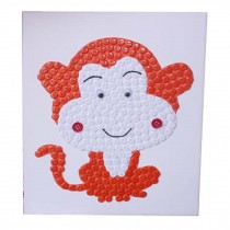 Monky Pattern Puzzle,Animal Pattern Hand Painted,Button Painting