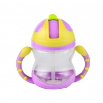Cute Kids Water Bottle With Handles Straw Training Baby Bottle [Purple]