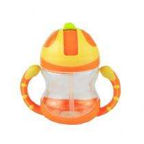 Cute Kids Water Bottle With Handles Straw Training Baby Bottle [Orange]