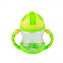 Cute Kids Water Bottle With Handles Straw Training Baby Bottle [Grass]
