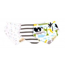 Cute Bandana Bib Drool Bib/3 Pack 100%Cotton
