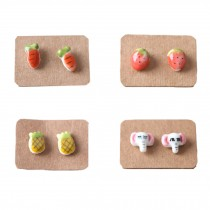 Super Cute Stud Earrings for Little Girls (4 Pairs/ Plastic Ear Pin)
