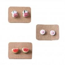 Super Cute Stud Earrings for Little Girls (3 Pairs/ Plastic Ear Pin)