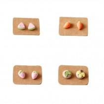 Super Cute Design Stud Earrings Ceramic Earrings  (4 Pairs/ Plastic Ear Pin)