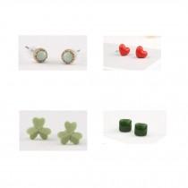 Super Cute Design Stud Earrings Ceramic Earrings for Girls 4 Pairs, A