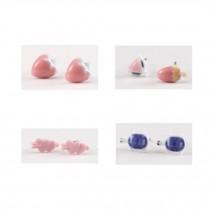 Super Cute Stud Earrings Ceramic Earrings for Girls 4 Pairs, D