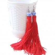 3 Pairs Tassel Earrings Drop Dangle Bohemian Earrings Tassel for Women, Red