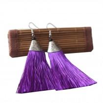 Mini Tassel Earrings Drop Dangle Earrings Tassel for Women Girls 4 Pairs, Purple