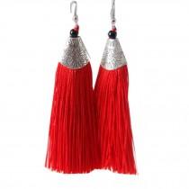 Mini Tassel Earrings Drop Dangle Earrings Tassel for Women Girls 4 Pairs, Red