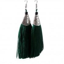 Mini Tassel Earrings Drop Dangle Earrings Tassel for Women Girls 4 Pairs, Green